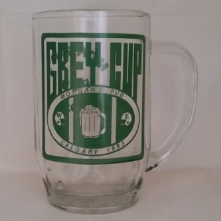 Grey Cup, Beer Mug, Morgan's Pub, glass, 1993