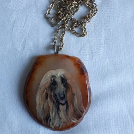 Afghan Hound, Necklace, Painted