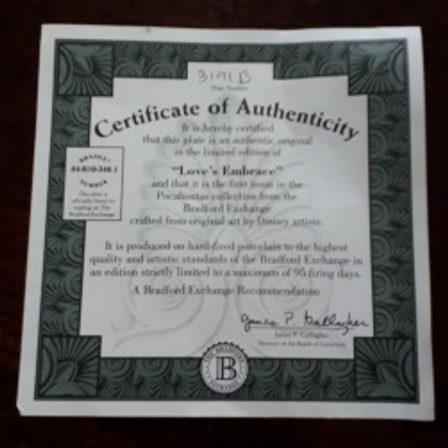 Walt Disney, Pocahontas, Certificate