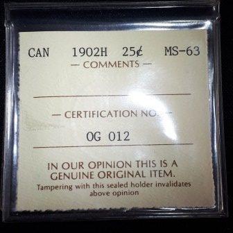 ICCS Certification, 1902H, Silver, Quarter