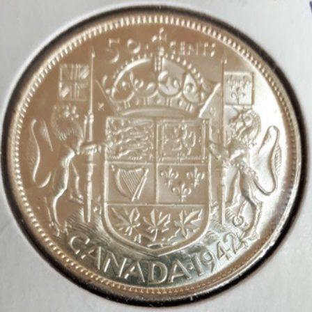 Silver, Half, Canadian, 1942