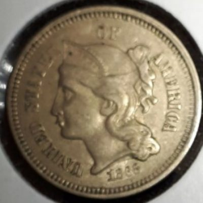 US, Three Cent, Nickel Coin, 1868