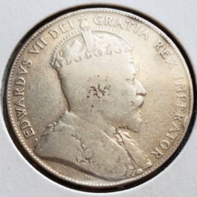 1906 Silver Canadian G6 Half Dollar