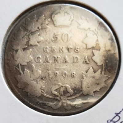 1908 Canadian Silver 50 Cent Piece