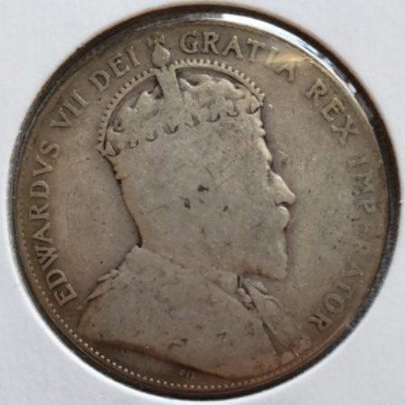 1910 Silver Half Dollar face view