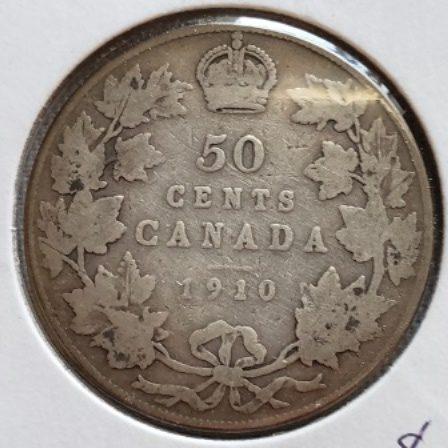 1910 Silver Half Dollar back view