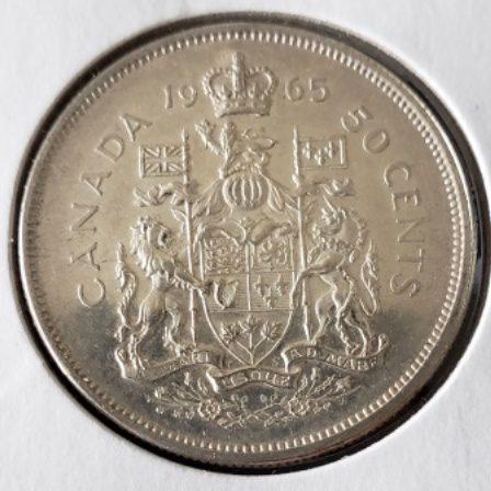 Uncirculated 1965 Canadian Half Dollar Back view