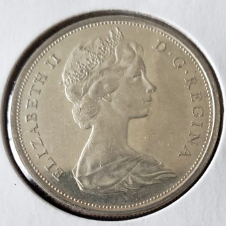 Uncirculated 1965 Canadian Half Dollar Face view