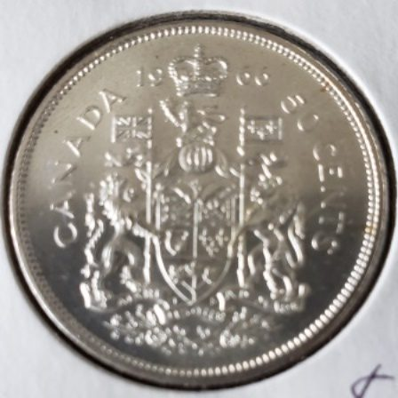 Back view of 1966 MS63 Half Dollar