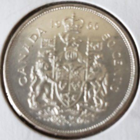 Uncirculated 1966 Canadian Half Dollar Back view