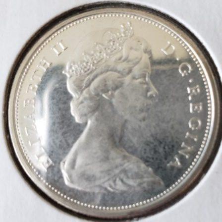 Front view dof 1966 Canadian Half Dollar