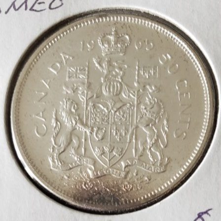 PL Cameo 1965 Canadian Half Dollar Back View