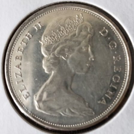 1966 Toned Canadian half Dollar Face View
