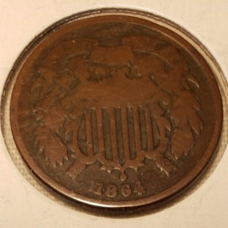 1864 Bronze 2 cent US coin