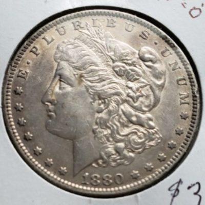 1880 O AU Silver US Dollar