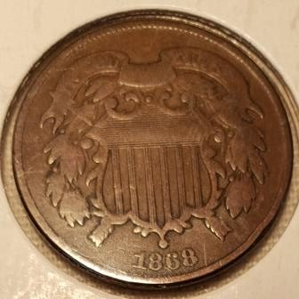 1868 US Two Cent Coin Large Motto